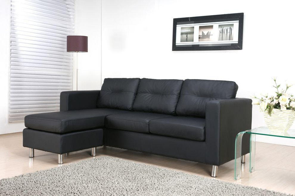 Canapé D'angle En Cuir Noir