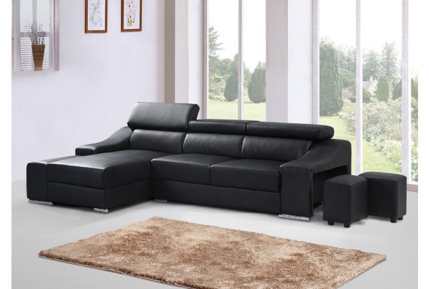 Canapé D'angle En Simili Cuir Noir