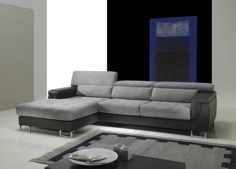 Canapé D'angle Gris Et Blanc Microfibre