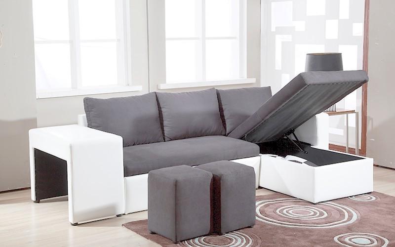 Canapé D'angle Réversible Et Convertible Avec Pouf Coffre Table