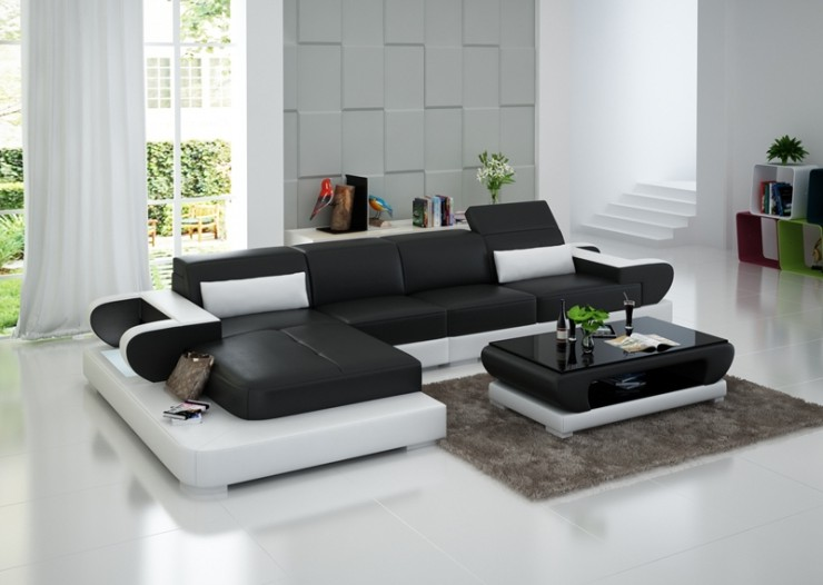 Canapé D'angle Relax Cuir Noir Et Blanc Design