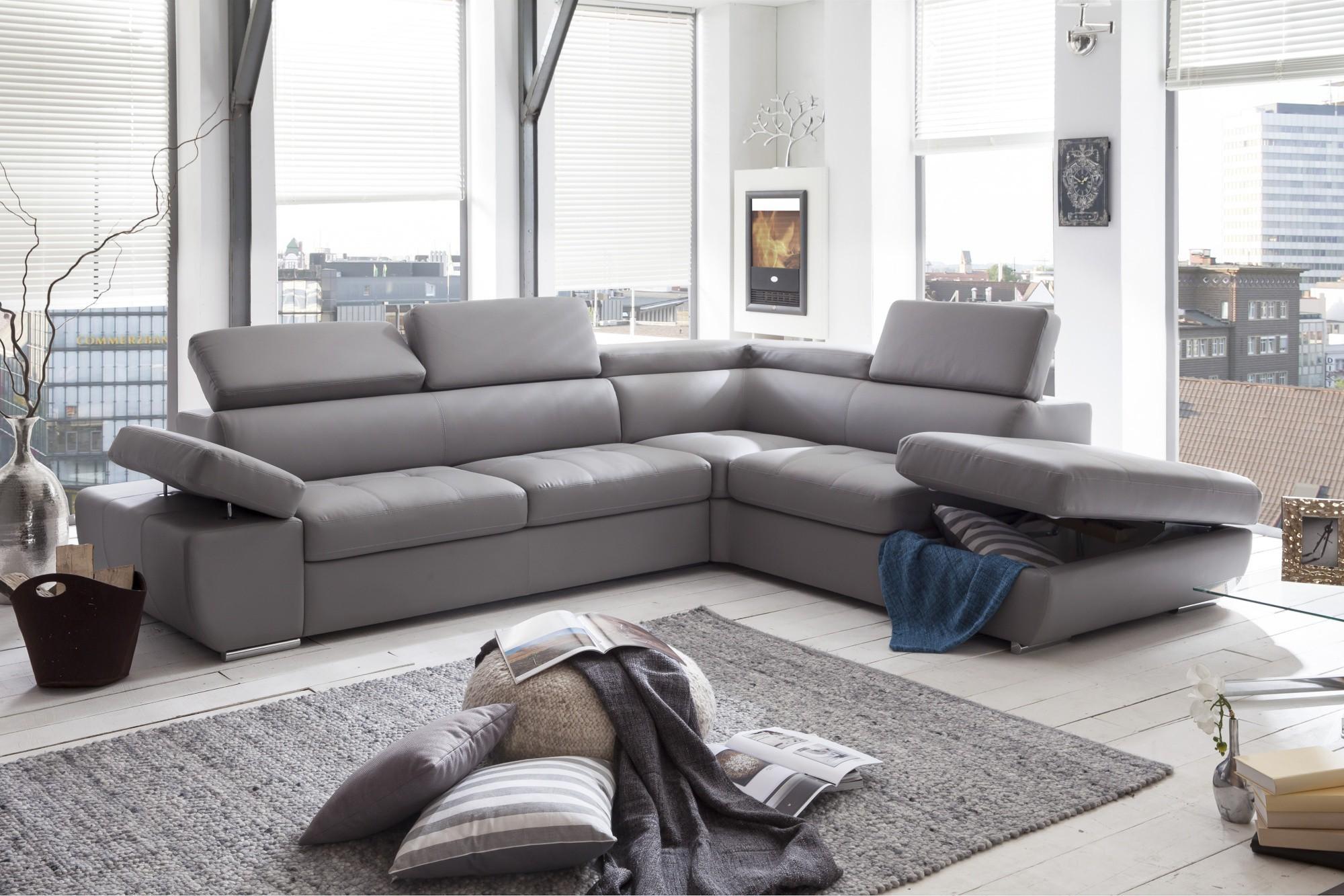 Canapé D'angle Simili Cuir Gris