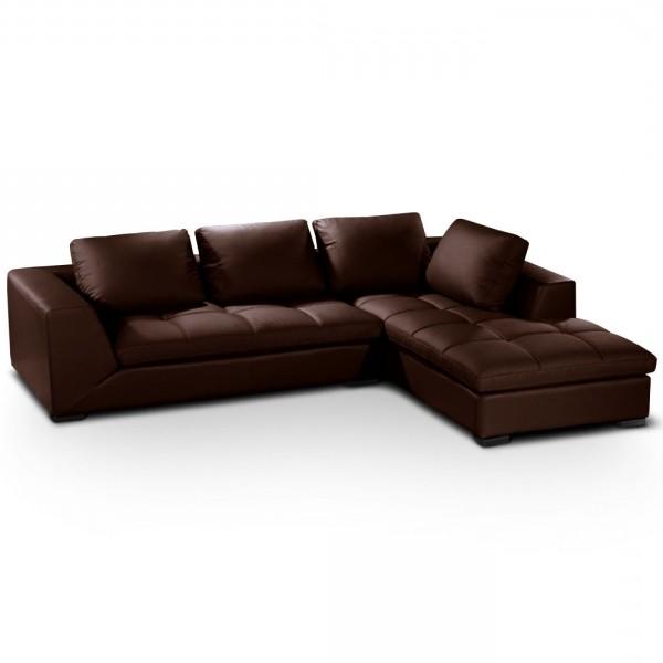 Canapé D'angle Simili Cuir Marron