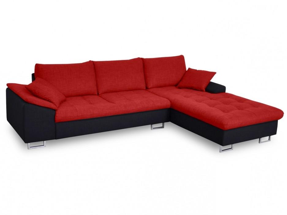 Canapé D'angle Tissu Allegri Bicolore Noir Et Gris