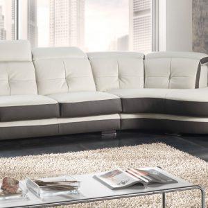 Canap cuir et tissu d 39 angle canap id es de d coration de maison v0 - Cuir center canape convertible ...