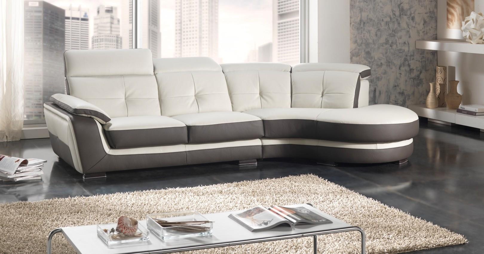 Canapé D'angle Tissu Cuir Center