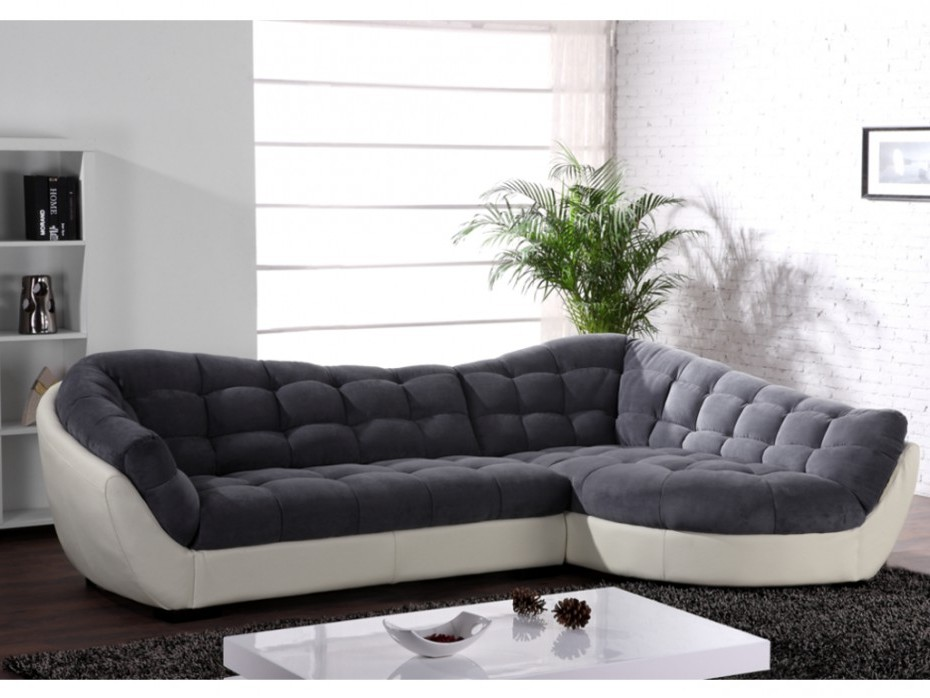 Canapé D'angle Tissu Et Croûte De Cuir Leandro