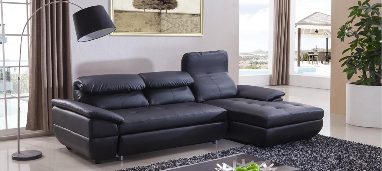 Canapé Simili Cuir Convertible Noir