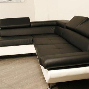 Canap d 39 angle simili cuir noir et blanc canap id es for Canape cuir noir et blanc