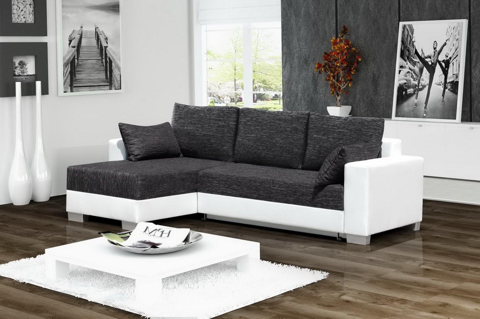 Canape Angle Convertible Blanc Et Gris