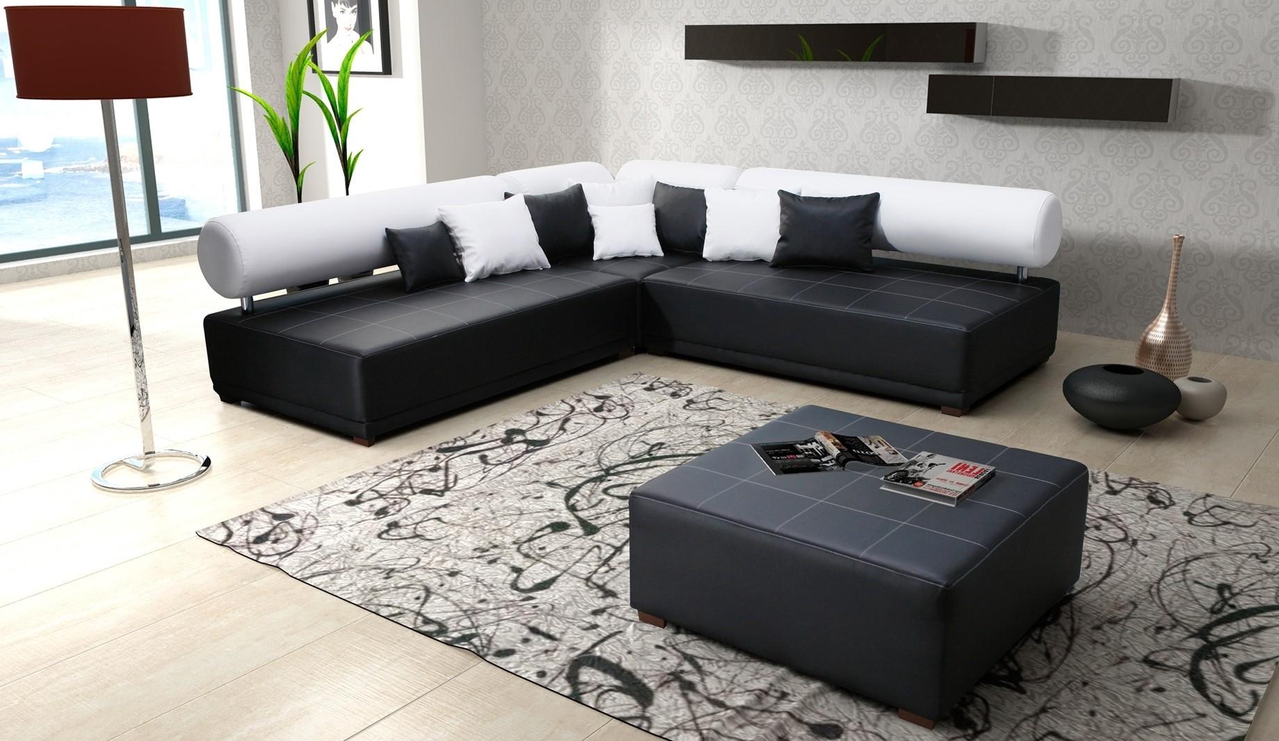 Canape Angle Cuir Noir Et Blanc