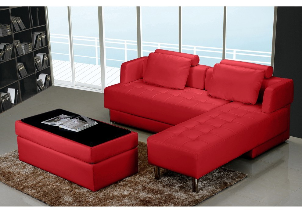 Canape D'angle Convertible Cuir Rouge