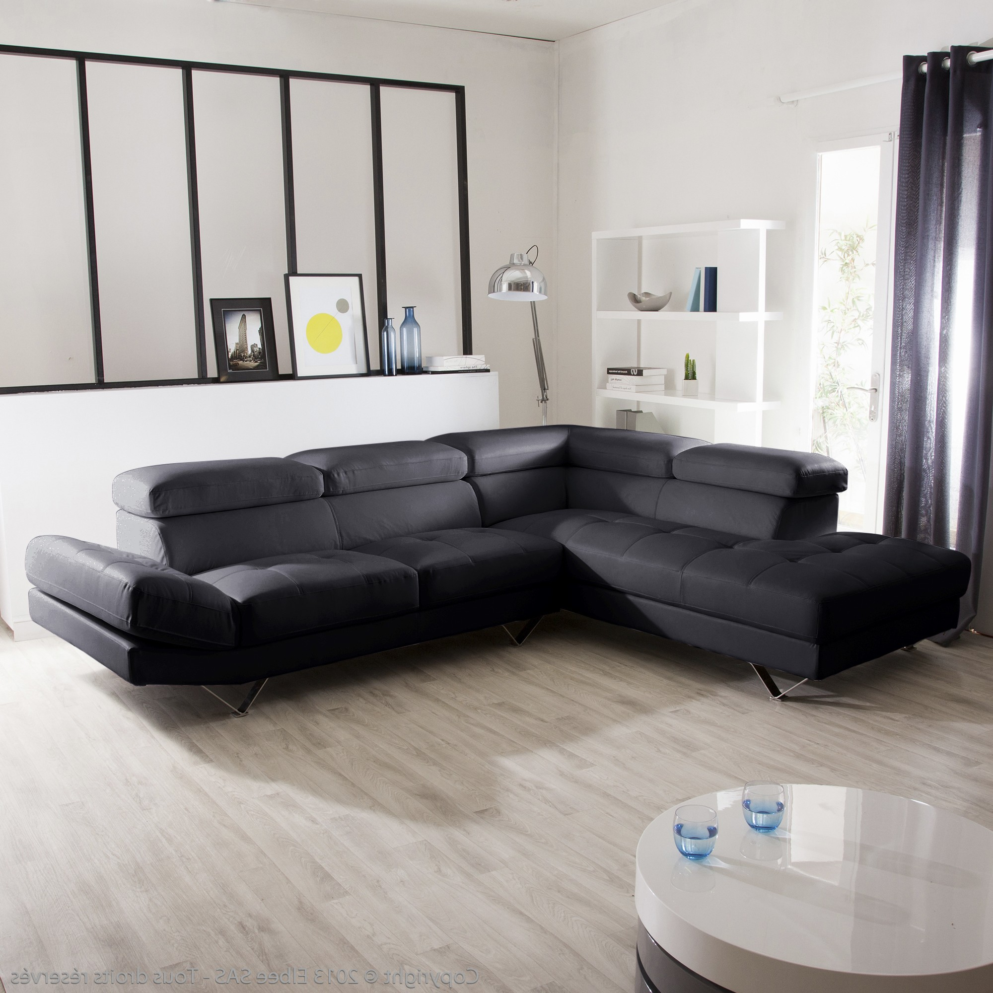 canape d 39 angle cuir buffle noir canap id es de. Black Bedroom Furniture Sets. Home Design Ideas