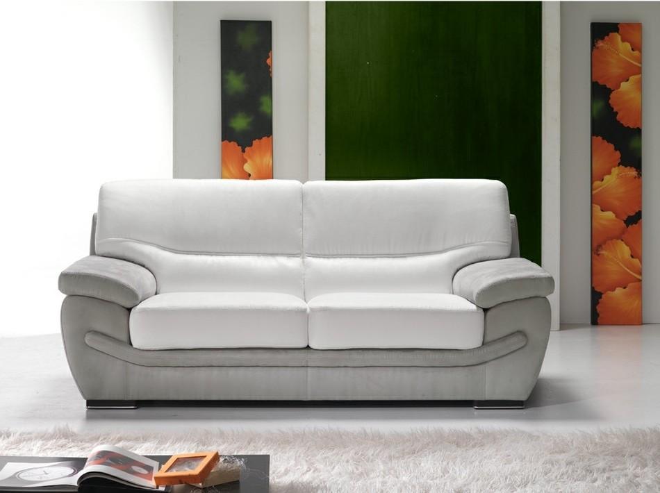 Canape Fixe Cuir Blanc