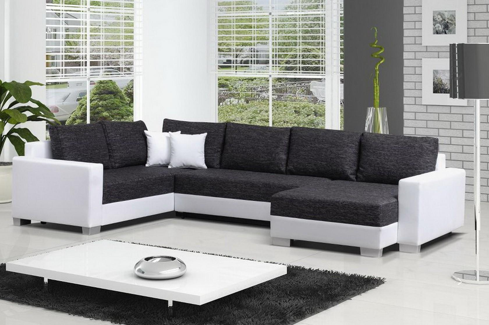 Canape Simili Cuir Noir Et Blanc