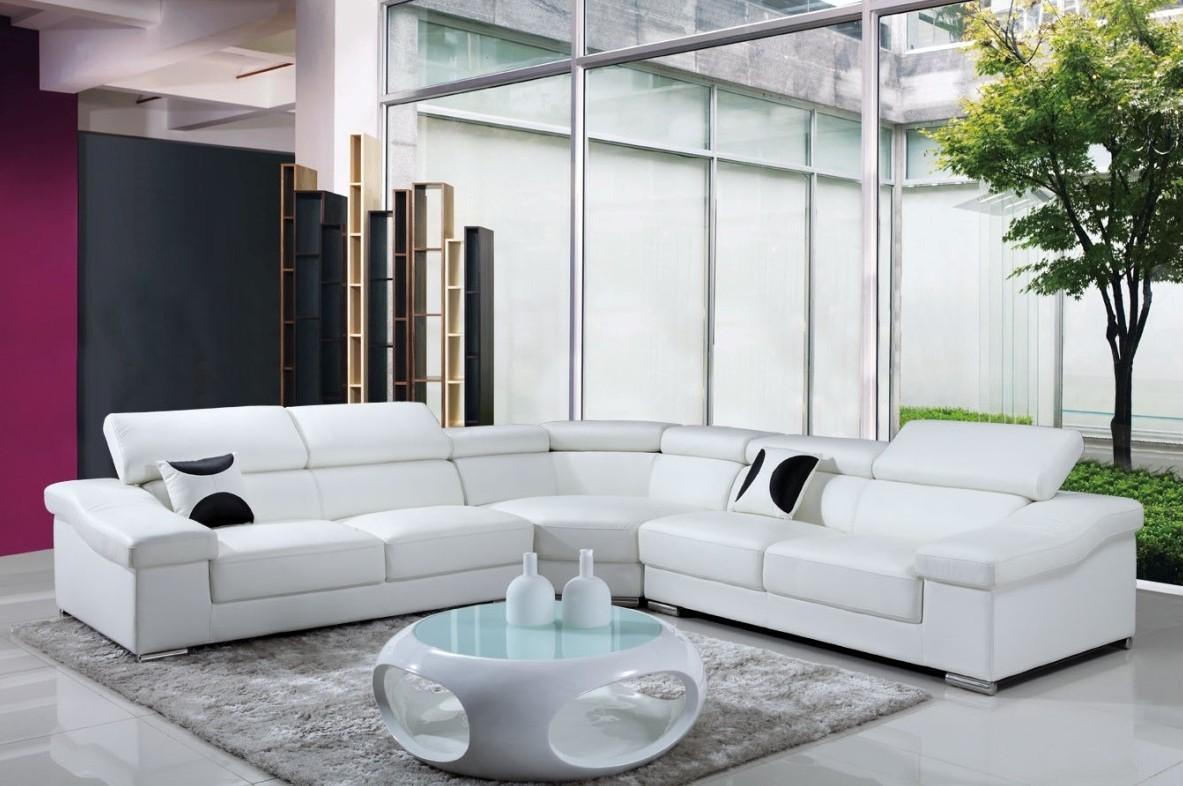 Grand Canapé D'angle Cuir Blanc