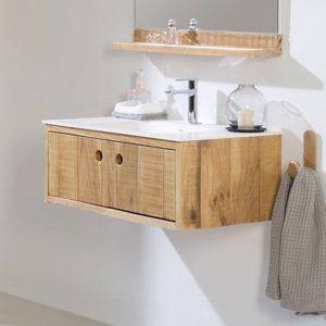 Meubles salle de bain bois massif pas cher salle de bain for Armoire salle de bain en bois
