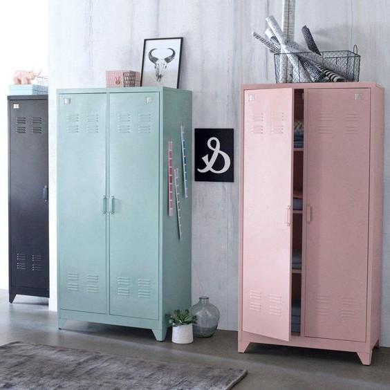 Armoire vestiaire m tal 2 portes hiba armoire id es de for Armoire metallique 2 portes
