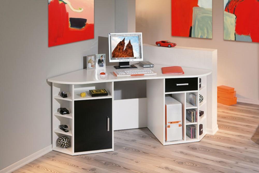 bureau d 39 angle blanc laqu fly bureau id es de d coration de maison 56lgmrob30. Black Bedroom Furniture Sets. Home Design Ideas