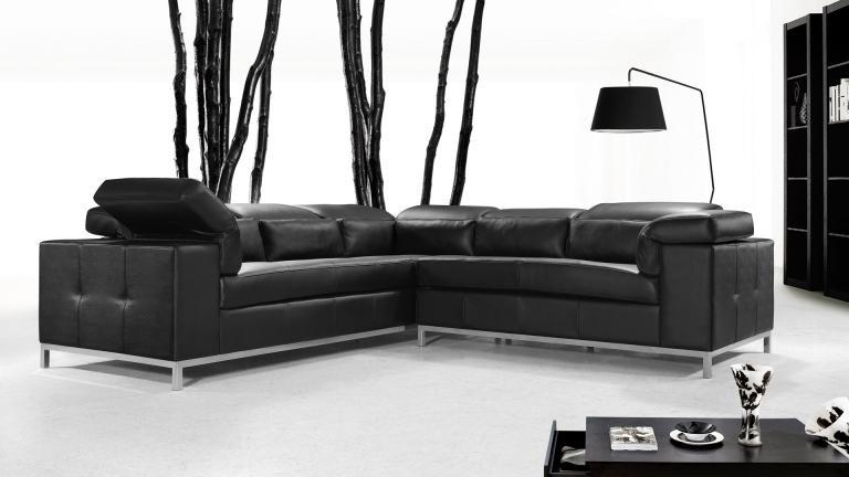 Canapé Contemporain Cuir Noir