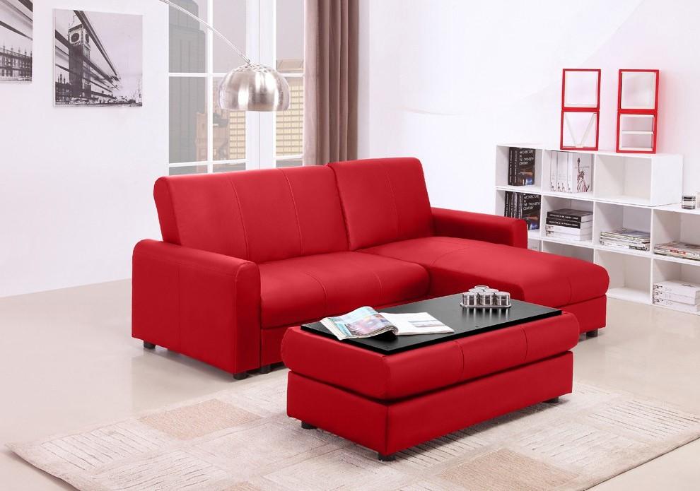 Canapé D'angle Convertible Simili Cuir Rouge