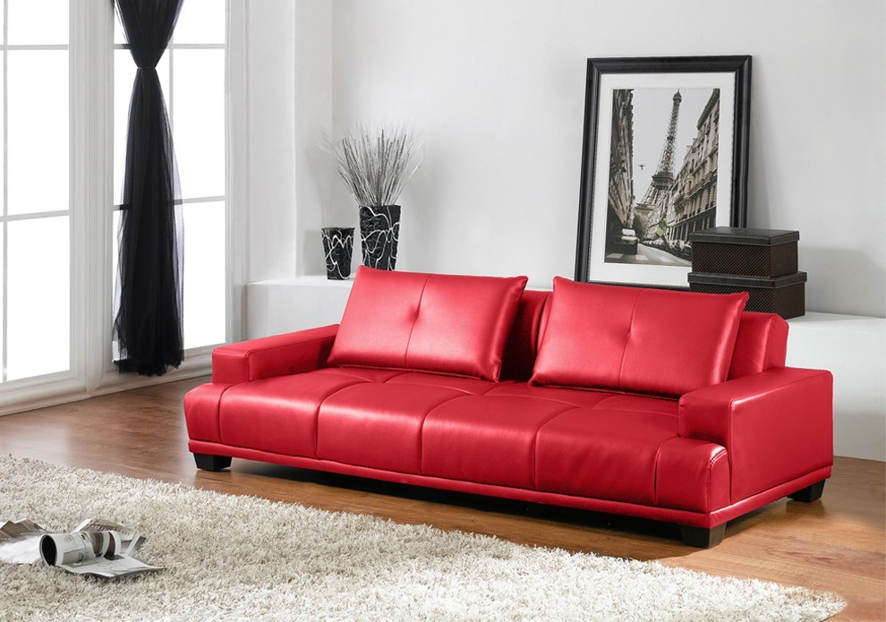 Canapé Imitation Cuir Rouge