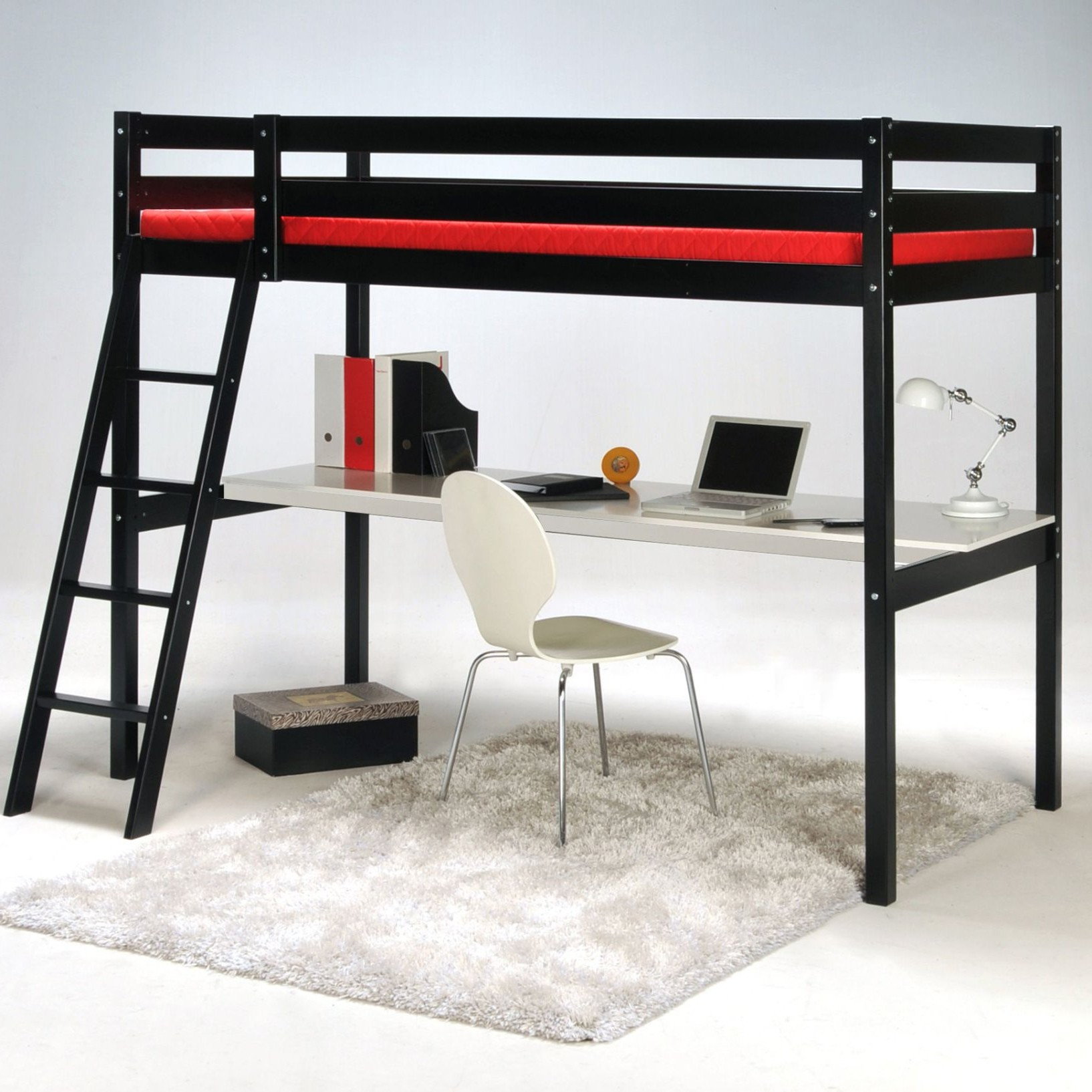 lit mezzanine 2 places avec bureau en bois bureau. Black Bedroom Furniture Sets. Home Design Ideas