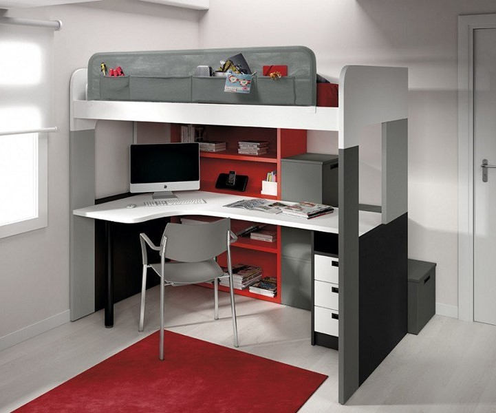 lit mezzanine 2 places avec bureau int gr bureau. Black Bedroom Furniture Sets. Home Design Ideas