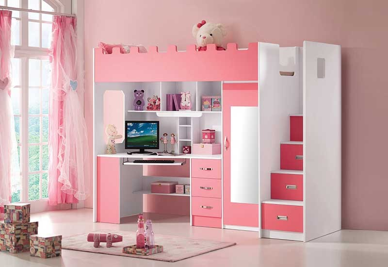 lit mezzanine rose avec bureau et armoire int gr s. Black Bedroom Furniture Sets. Home Design Ideas