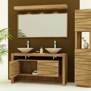Meuble salle de bain bois exotique pas cher salle de - Meuble salle de bain pas cher castorama ...