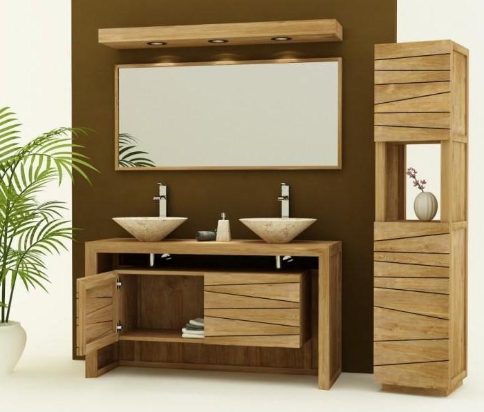 Meuble de salle de bain en bois exotique pas cher best for Meuble exotique