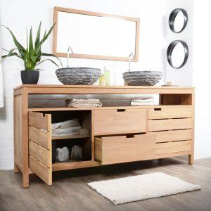 Meuble salle de bain bois exotique leroy merlin salle de for Salle de bain en bois exotique