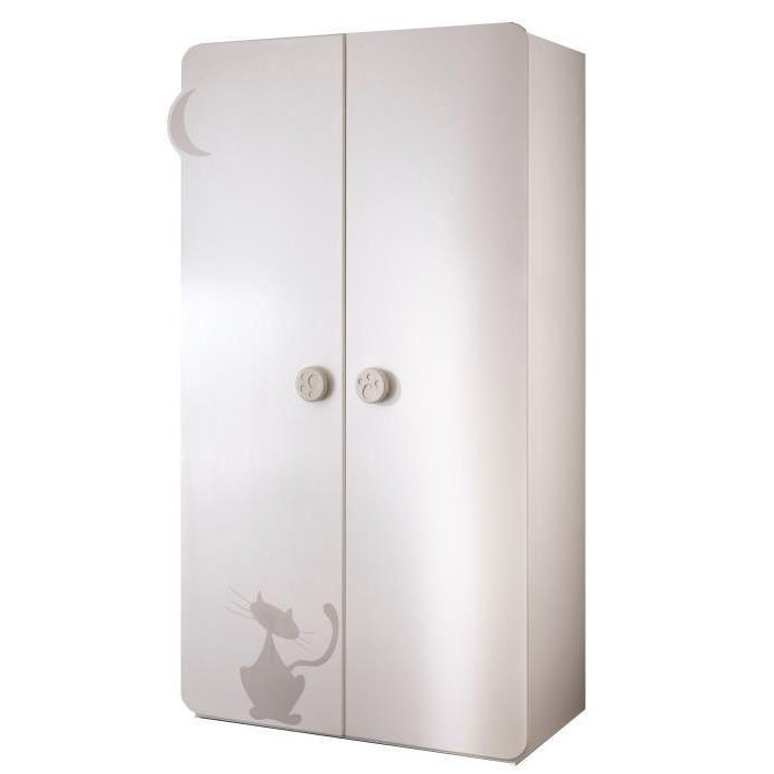 Armoire 2 Portes Chambre Bébé Kitty Blanc