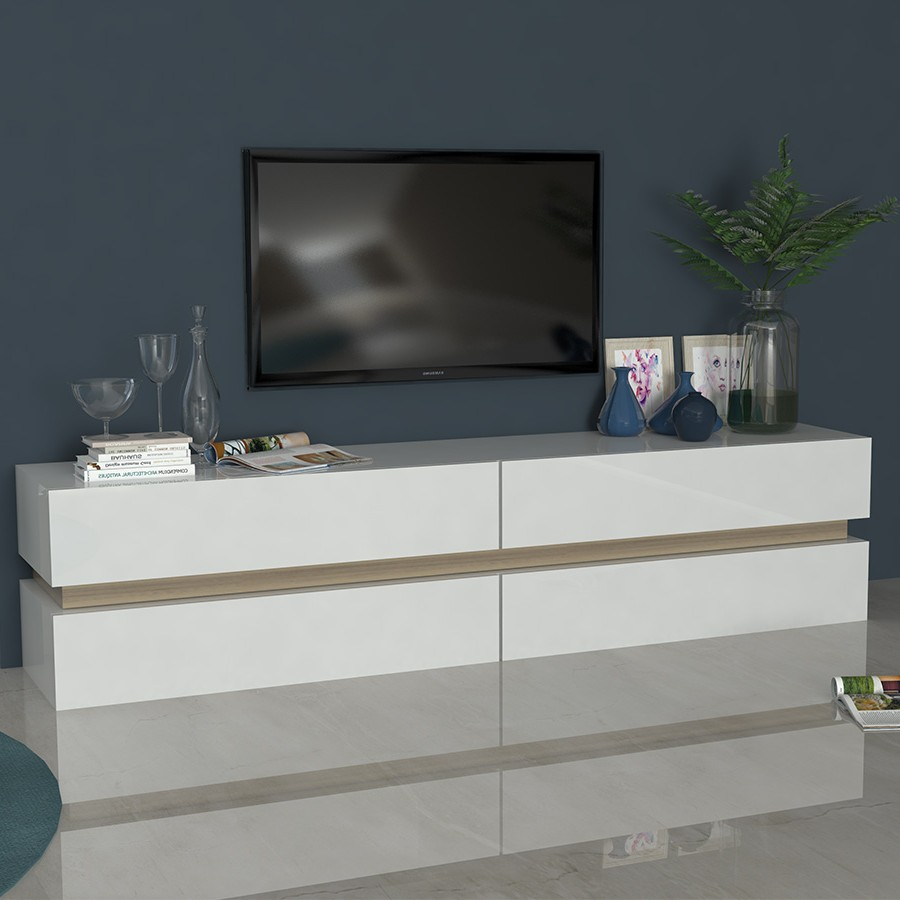 Armoire basse meuble tv valencia en blanc armoire for Meuble tv armoire