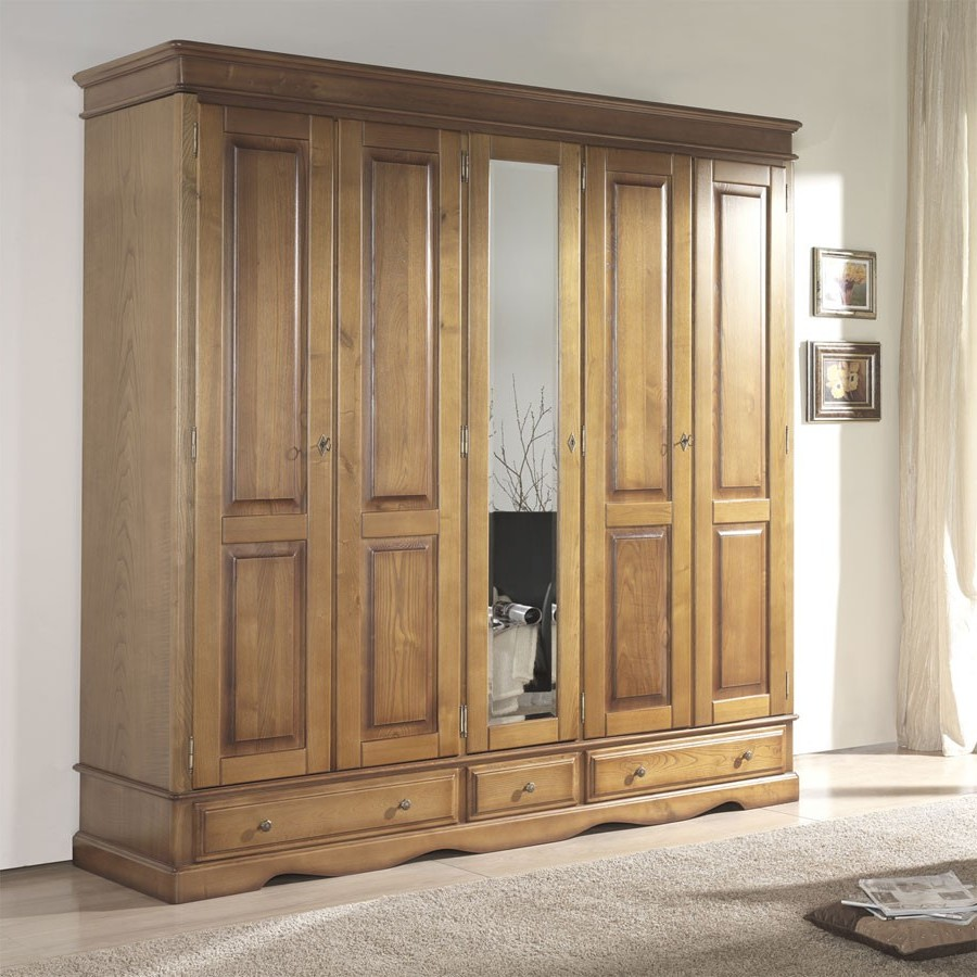 Stunning armoire chambre adulte bois photos for Chambre bois massif adulte