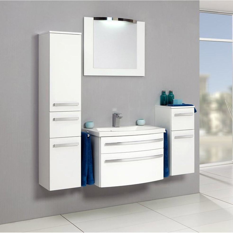 Meuble salle de bain blanc laqu armoire id es de for Colonne salle de bain blanc laque leroy merlin