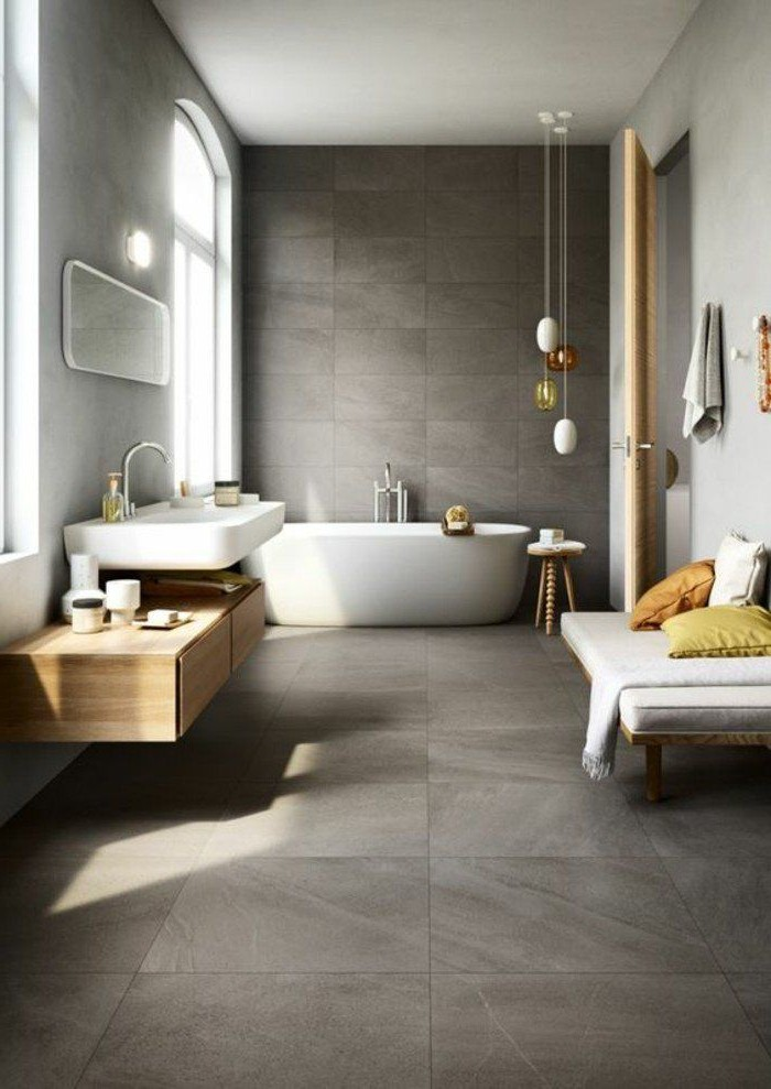 Carrelage effet beton salle de bain carrelage id es de for Carrelage effet beton cire salle de bain