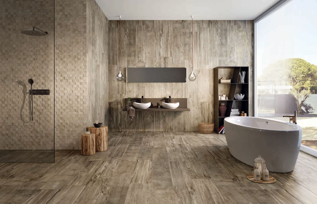 Beautiful salle de bain carrelage imitation parquet for Carrelage imitation parquet salle de bain