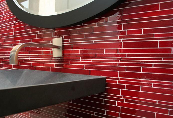 Carrelage Mosaique Verre Rouge