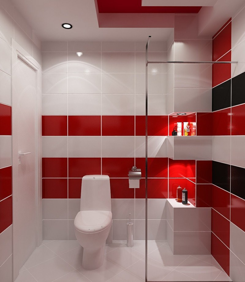 Beautiful faience cuisine rouge et blanc photos for Idees deco salle de bain carrelage