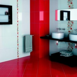 Carrelage mural rouge salle de bain carrelage id es de for Carrelage salle de bain rouge