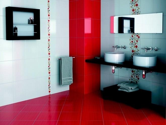 Carrelage Mural Rouge Pour Salle De Bain