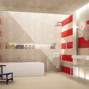 Carrelage mural salle de bain rouge carrelage id es de for Carrelage salle de bain rouge