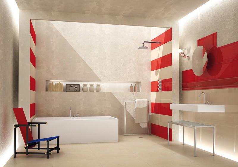 Carrelage Mural Salle De Bain Rouge