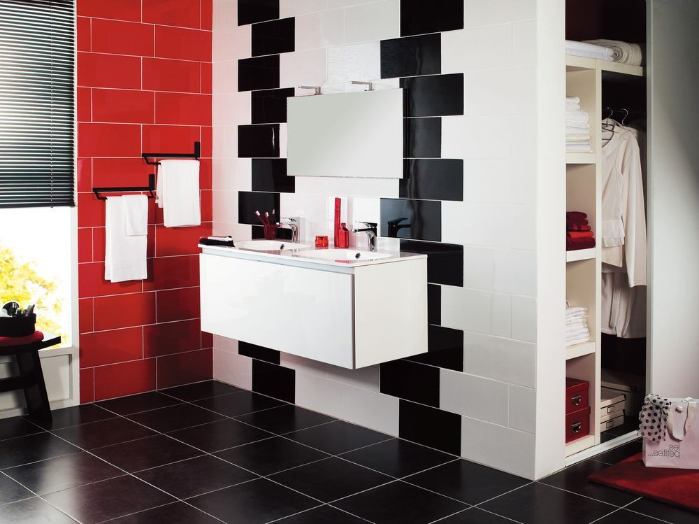 carrelage rouge et gris salle de bain carrelage id es. Black Bedroom Furniture Sets. Home Design Ideas