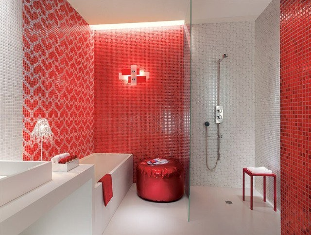 Awesome salle de bain mosaique rouge contemporary for Carrelage mosaique rouge