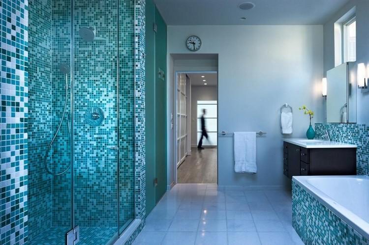 Carrelage Mosaique Salle De Bain Bleu