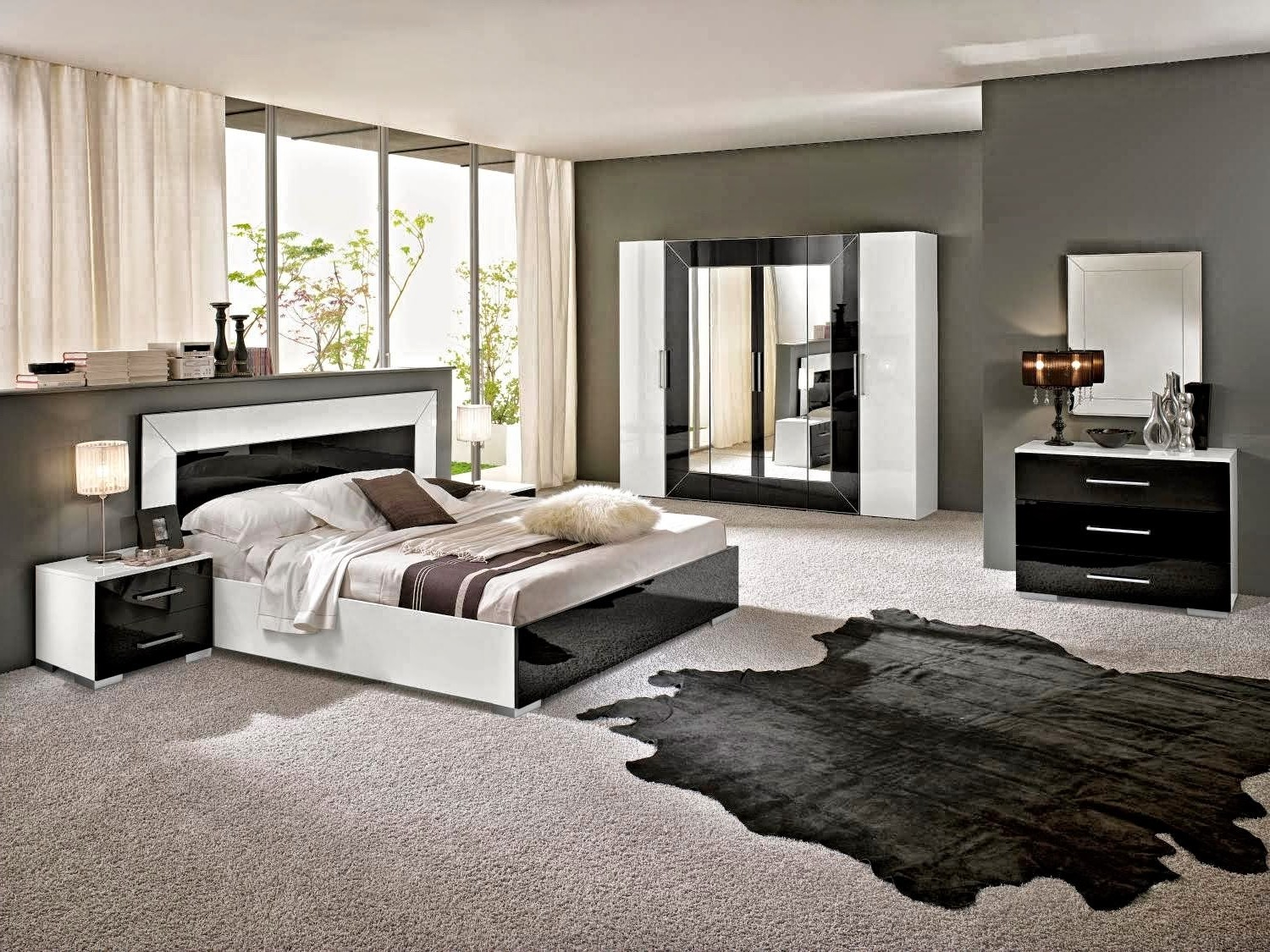 chambre a coucher style contemporain chambre id es de. Black Bedroom Furniture Sets. Home Design Ideas