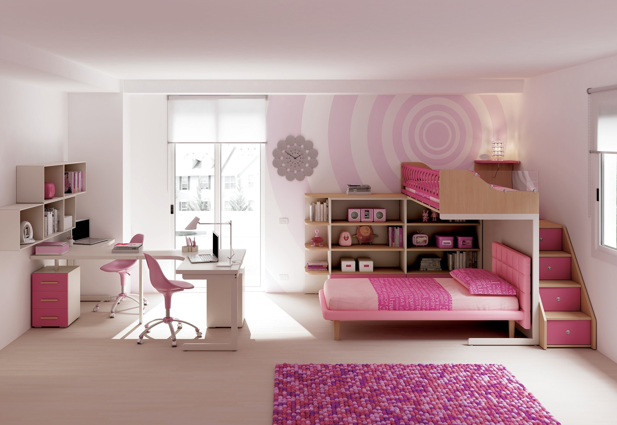 chambre fille avec lit superpos chambre id es de d coration de maison 56lgwogl30. Black Bedroom Furniture Sets. Home Design Ideas