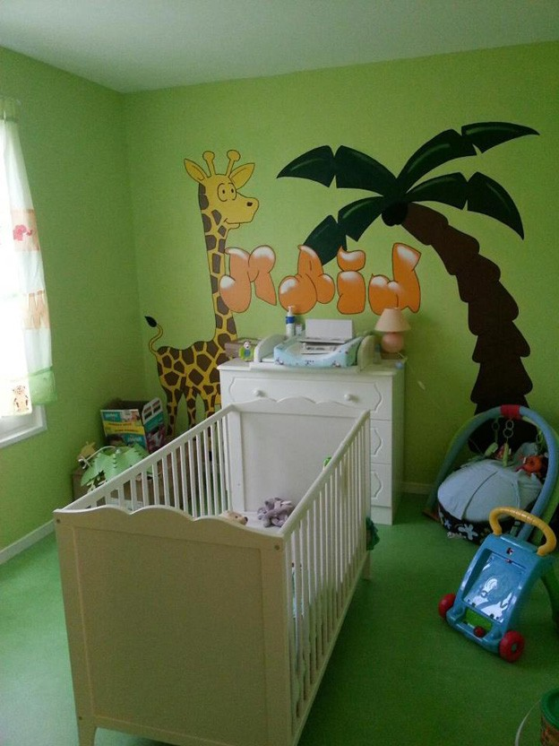 Decoration chambre bebe theme jungle chambre id es de for Decoration chambre jungle